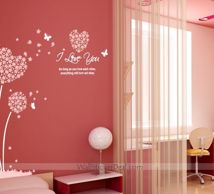 I Love You Heart Sharped Flower And Butterfly Wall Decals