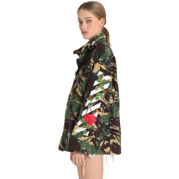 cf4f8dbe7774a Off White Women M65 Embroidered Camo Canvas Field Jacket (5.290 BRL) ❤  liked on Polyvore featuring outerwear, jackets, military green, military  camo jacket ...