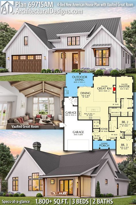 Plan 69715AM: 3-Bett New American House Plan mit gewölbtem Great Room   – House Styles & Floor Plans