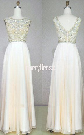 White A Line Scoop Neck Chiffon Tulle Floor Length Beading Long Prom Dress
