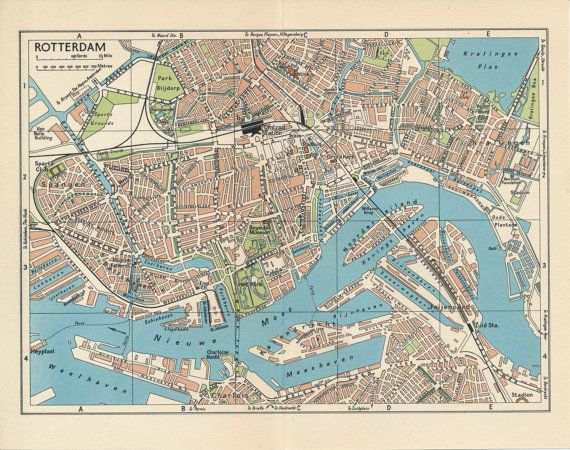 1961 rotterdam netherlands holland vintage map gumiabroncs Gallery