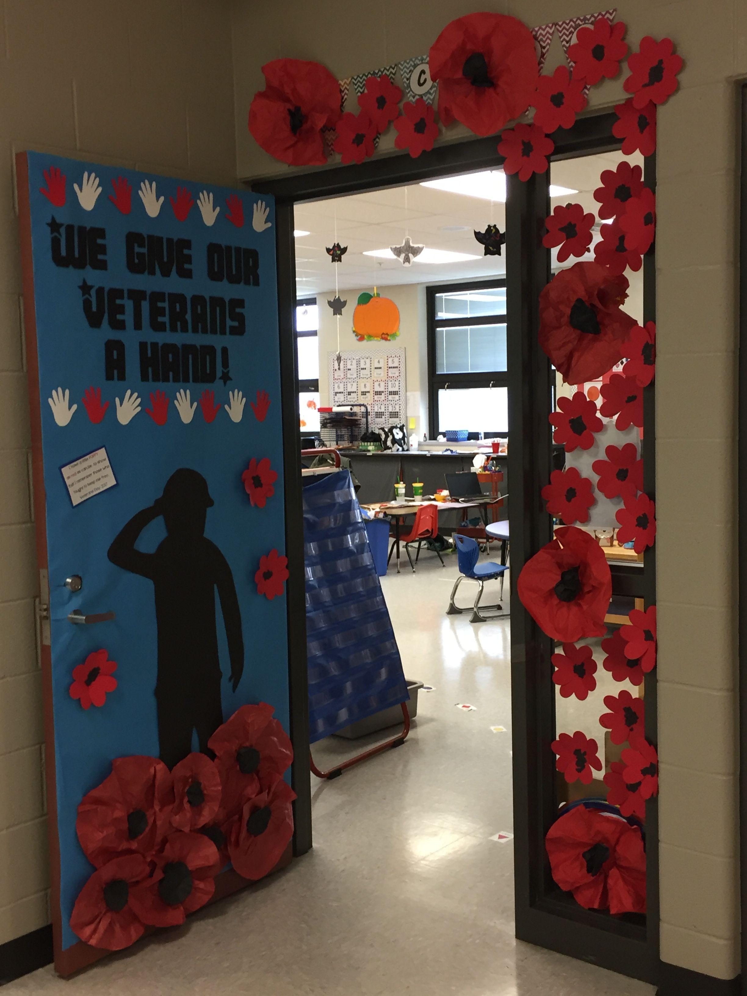 Veterans Day Preschool Door With Poppy S Veterans Day Poppy Veterans Day Coloring Page Veterans Day Celebration
