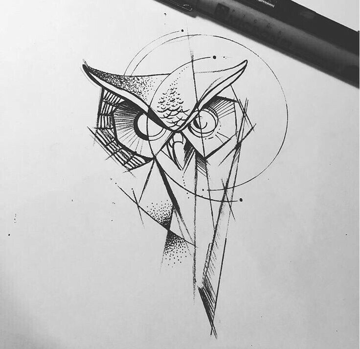 رسم بومة سهل Art Geometric Owl Tattoo Owl Tattoo Drawings Geometric Tattoo