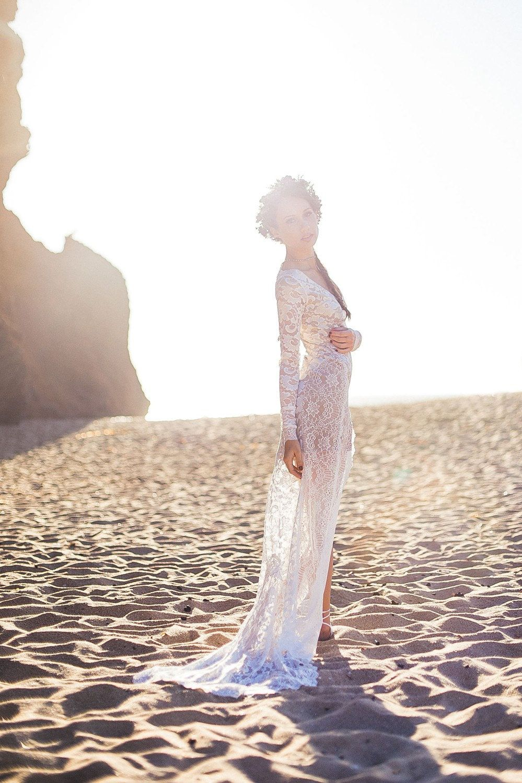Bohemian wedding dress hippie wedding dress beach wedding dress