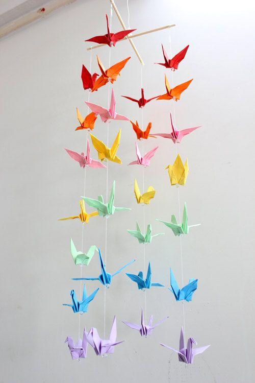 Baby Crib Mobile Children Decor Origami Paper Crane Colorful Rainbow Cranes Mobiles Nursery Home Girly Girl Bedroom Party Decor. $35.00, via Etsy.