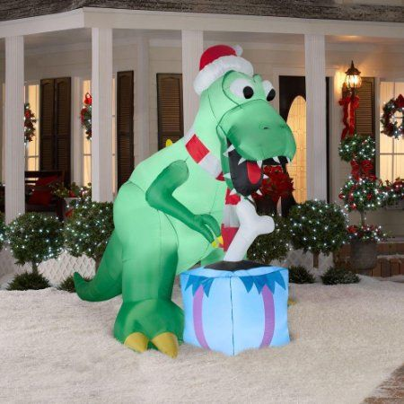 amazoncom christmas decoration lawn yard inflatable t rex dinosaur with santa hat and present 7 tall must have - Christmas Lawn Decorations Amazon