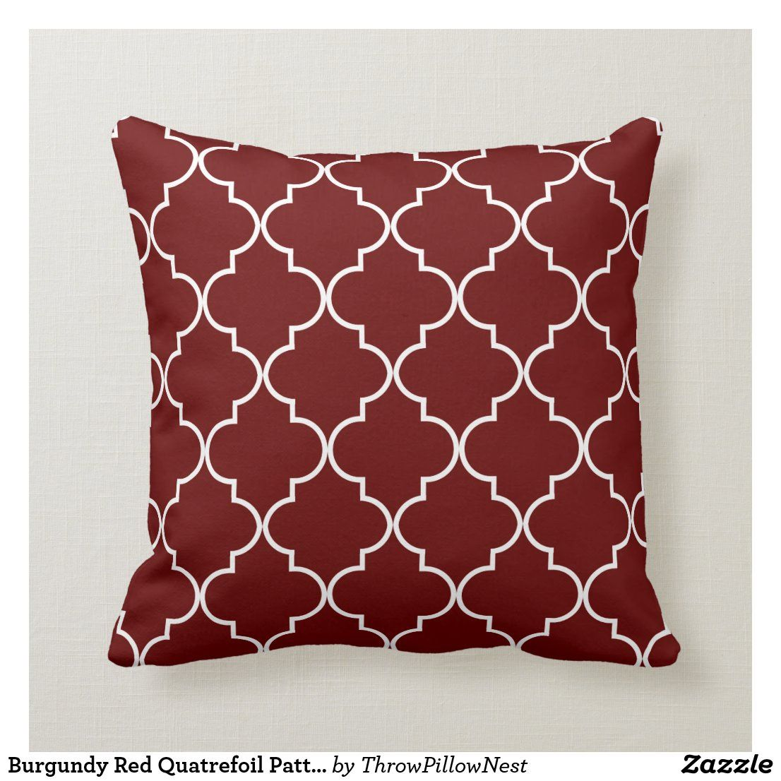 Burgundy Red Quatrefoil Pattern Throw Pillow