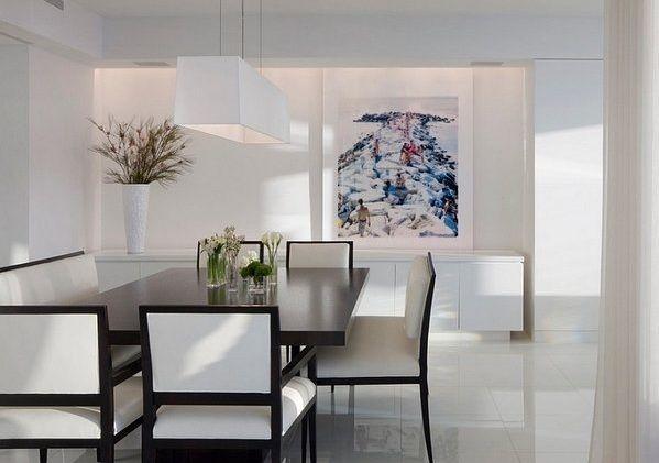 Minimalist Dining Room Ideas Glass Table Black Chairs Modern Pendant Lamp