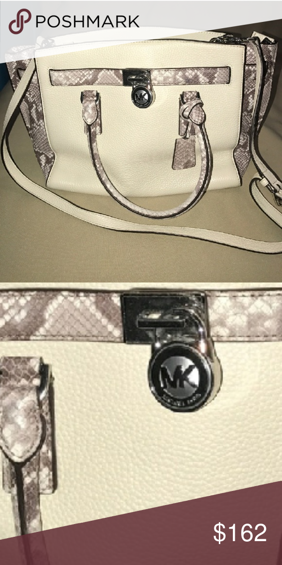 a105974124a4f4 Authentic Michael Kors Hamilton Traveler Authentic Michael Kors Hamilton  Traveler in Winter white pebble leather with