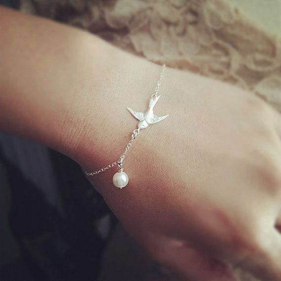 Silver Swallow Bracelet Swallow Charm & Pearl by cocowagner, $22.50