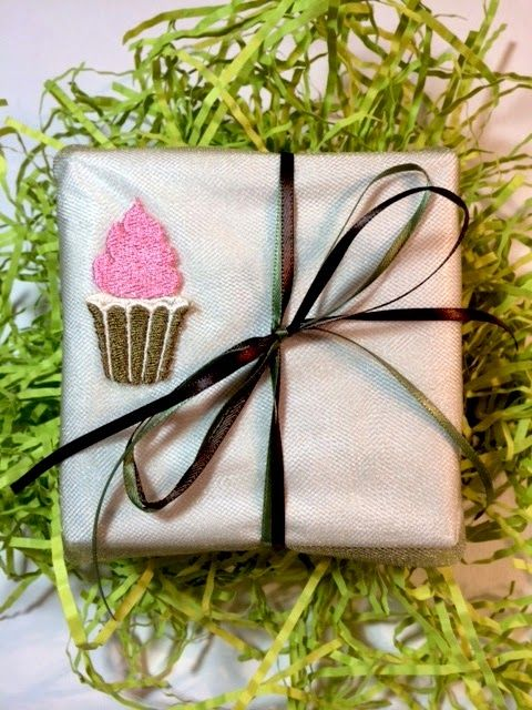 Machine embroidered gift boxes