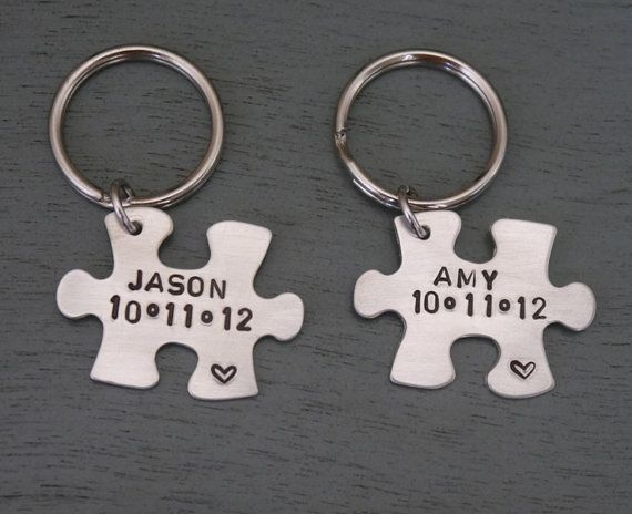 Puzzle piece key chain set of couples gift anniversary gift