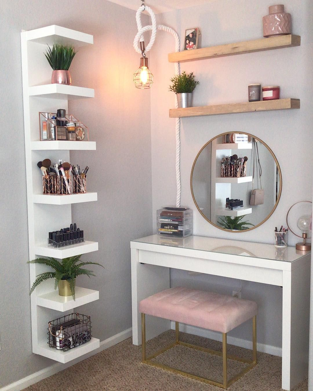 Ddelasoul On Instagram My Zen Place Vanity Ikeausa Mirror Target Wooden Shelves Target Pink Bench Tar Room Decor Bedroom Decor Cute Room Decor