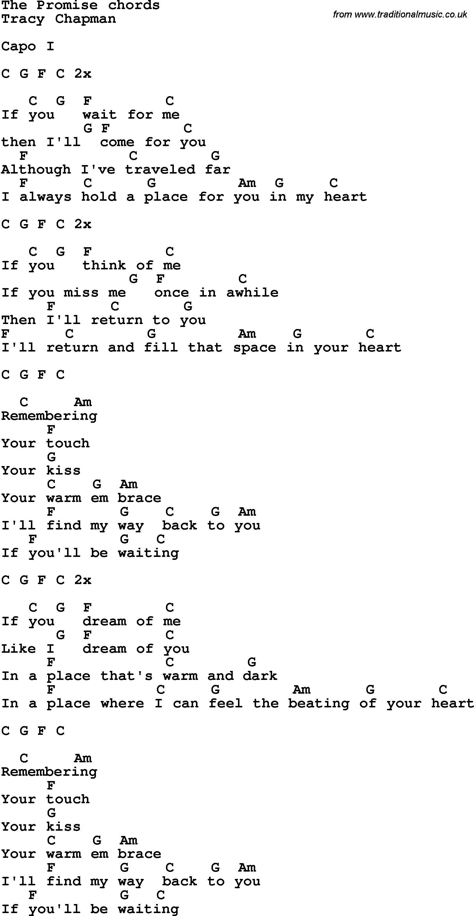 Song lyrics with guitar chords for the promise tracy chapman song lyrics with guitar chords for the promise tracy chapman hexwebz Gallery