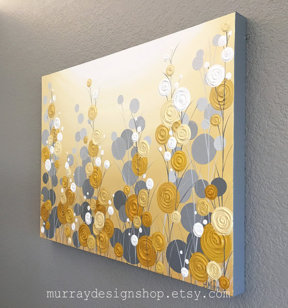Mustard Yellow And Grey Wall Art Textured Painting Abstract Etsy Grey Wall Art Yellow Painting Grey Canvas Art