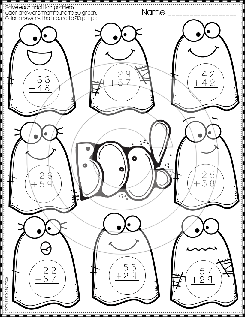Halloween 2-Digit Addition with Regrouping Color-by-Code