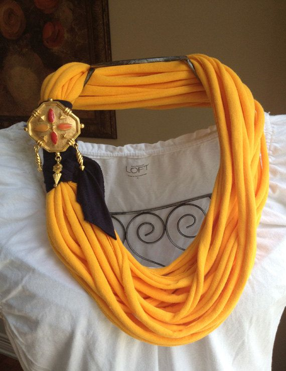 Golden yellow recycled/upcycled t by gwenandferolscloset on Etsy, $25.00