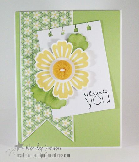 handmade card ... Mixed Bunch flower ... pretty color combo of yellow and chartreuse ... blog has more cards with the same design and elements bur different color combos ... Stampin' Up!