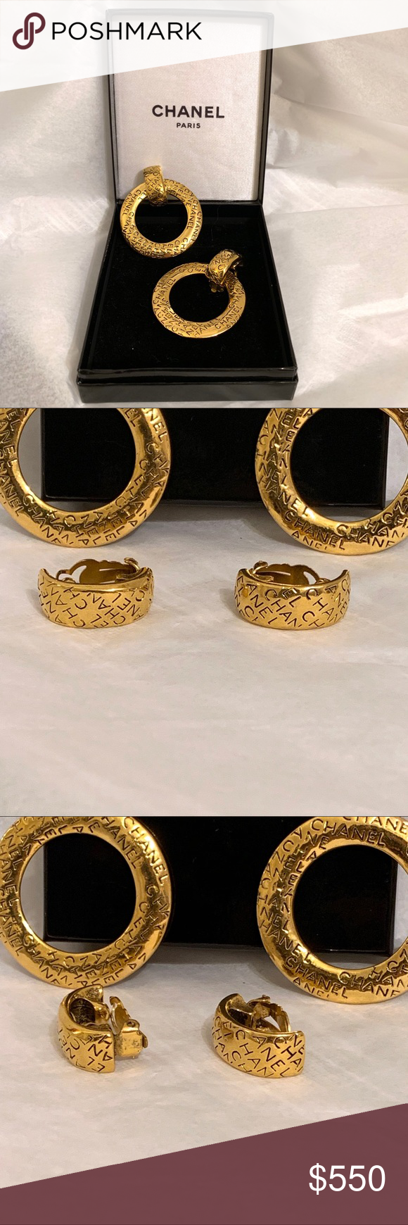 5bb7d261 Vintage Chanel 2 In 1 Hoop Dangle Clip Earrings Lovely large…   My ...