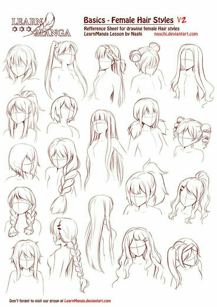 Line Drawing Styles : Basics female hairstyles text how to draw manga anime