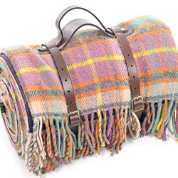 Tweedmill Polo Pure New Wool Picnic Rug With Fringe Leather Straps Cottage Candy Purple Backing