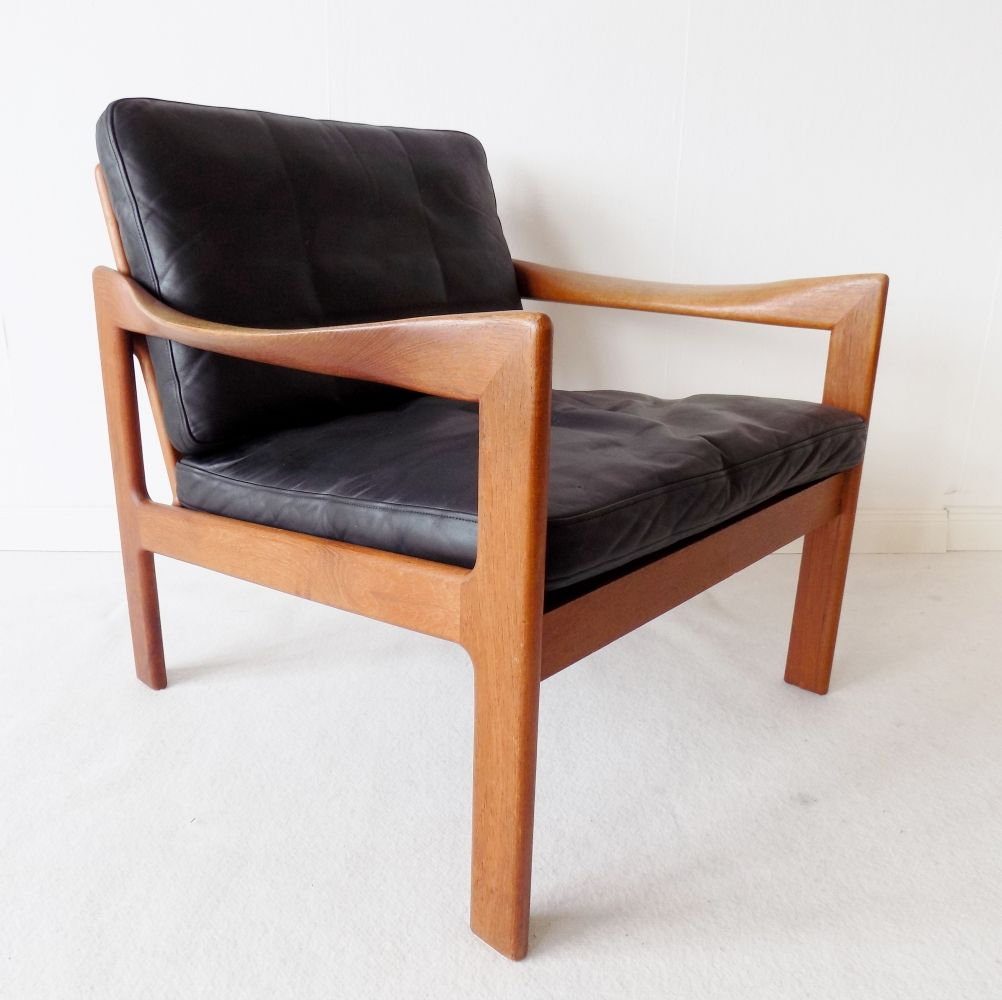 For Sale N Eilersen Teak Chair With Black Leather By Illum Wikkelso In 2020 Teak Chairs Vintage Design Chair Chair