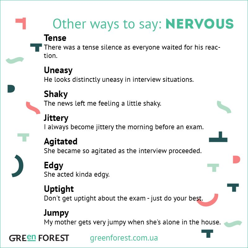 Synonyms to the word NERVOUS. Other ways to say NERVOUS. Синонимы