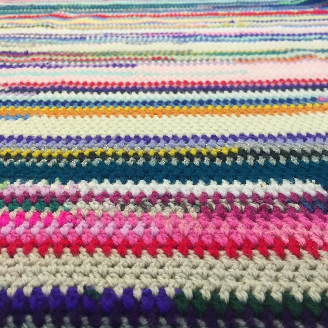 Can we just appreciate these scrappy stripes on my #HGDC_Scraptastic blanket which I made using my #HGDCscrapBallChallenge. To border or not to border?! I am thinking Pink... #HGDesignsCrochet #HGDC #Crochet #CrochetStripes #ScrapYarnBlanket #ScrapYarn #ScrappyYarn #ScrapYarnProject #CrochetLove #CrochetPorn #CrochetersOfIG #CrochetLove