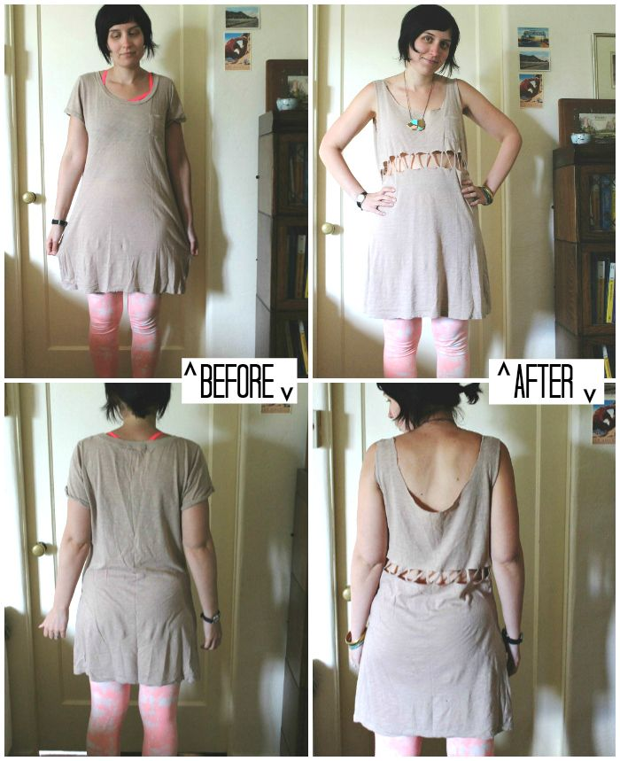 Cute T-Shirt Cutting Ideas | Fun, right? I used a t-shirt dress that I've had forever, but a ...