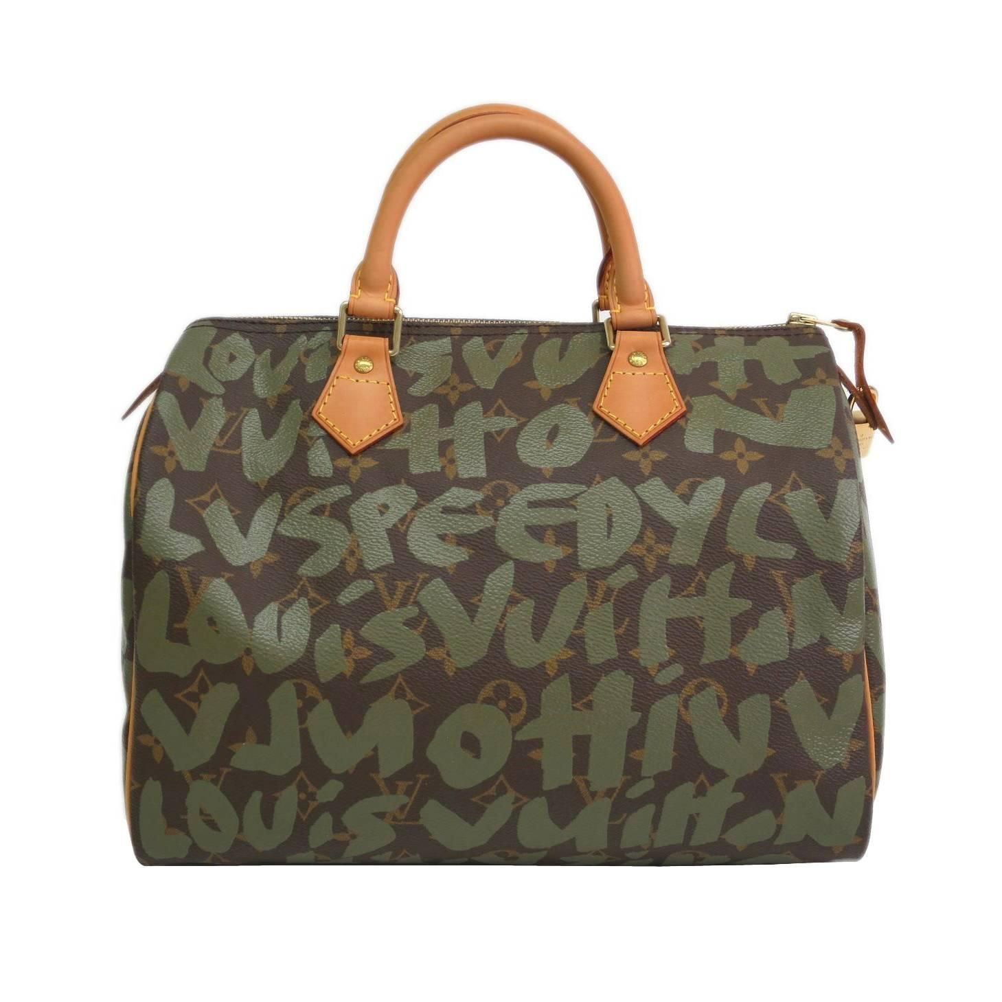 ba5be91d55be Louis Vuitton Limited Edition Stephen Sprouse Green Graffiti Speedy 30  Satchel