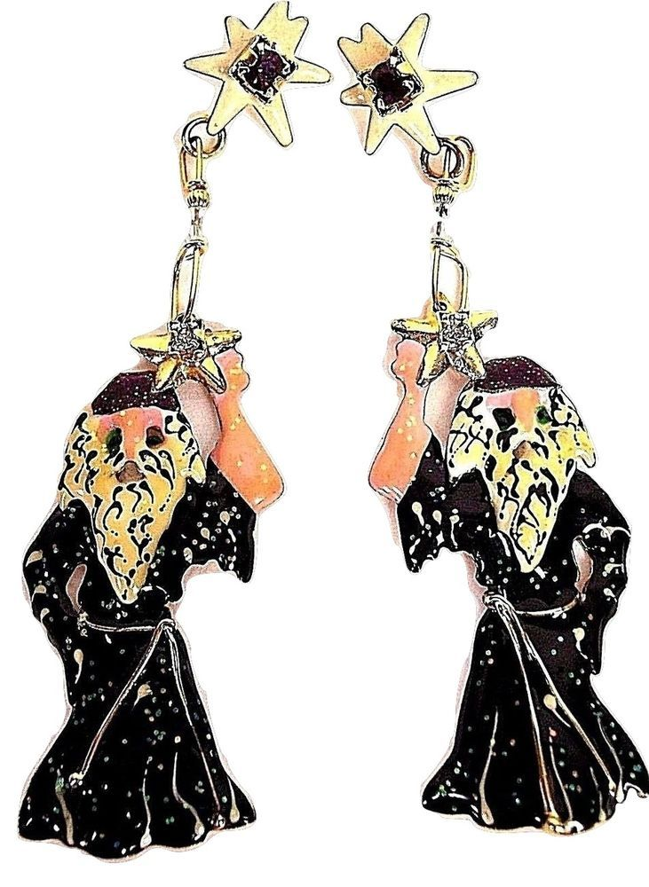45f0e9009 Vintage Lunch at the Ritz Earrings, Signed, Dangle Merlin Wizards RARE  1980s #LunchattheRitz #DropDangle