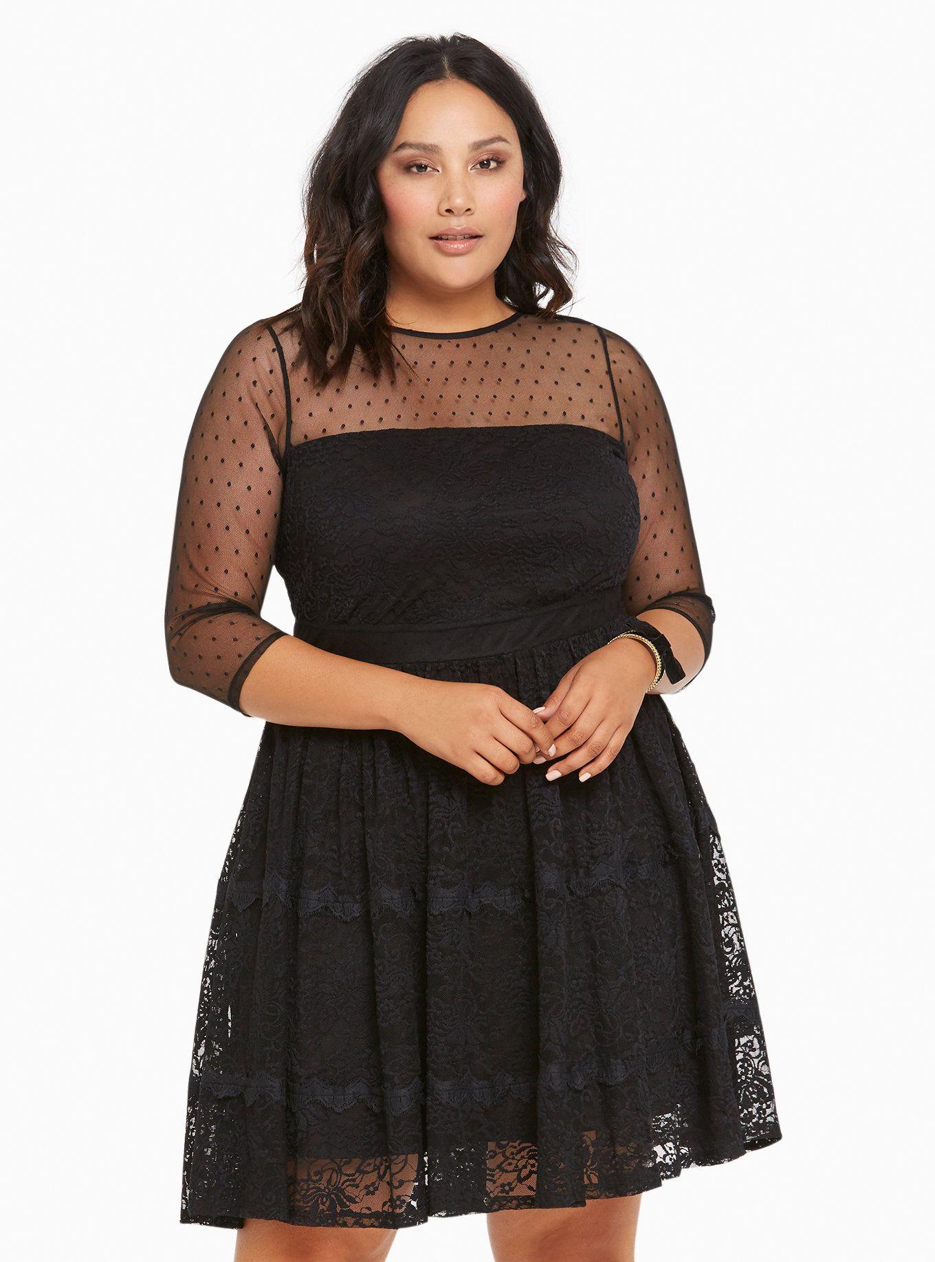 22f8575a99 Lace   Dot Mesh Skater Dress
