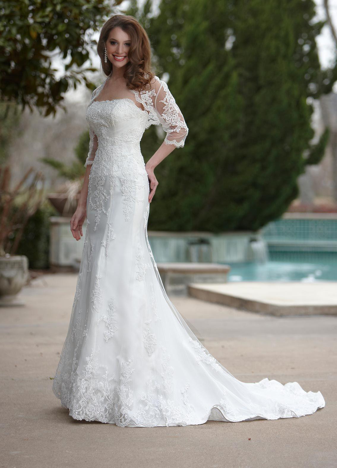 Davinci bridal style lace wedding dress in stock fashion