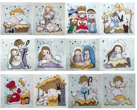 Crystal Nativity Swirls machine embroidery set.