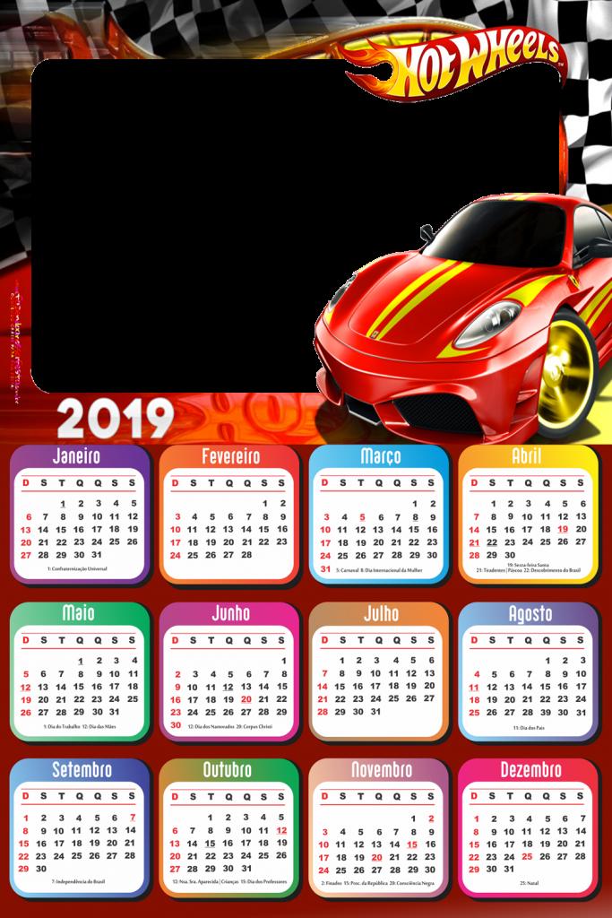 Calendario 2019 Hot Wheels Carro Vermelho Imagem Legal