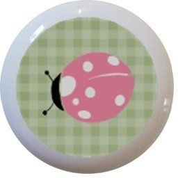 Pink Ladybug Green Gingham Ceramic Cabinet Drawer Pull Knob by Carolina Hardware and Decor, http://www.amazon.com/dp/B005AMSVPO/ref=cm_sw_r_pi_dp_F53Fqb1AY082A