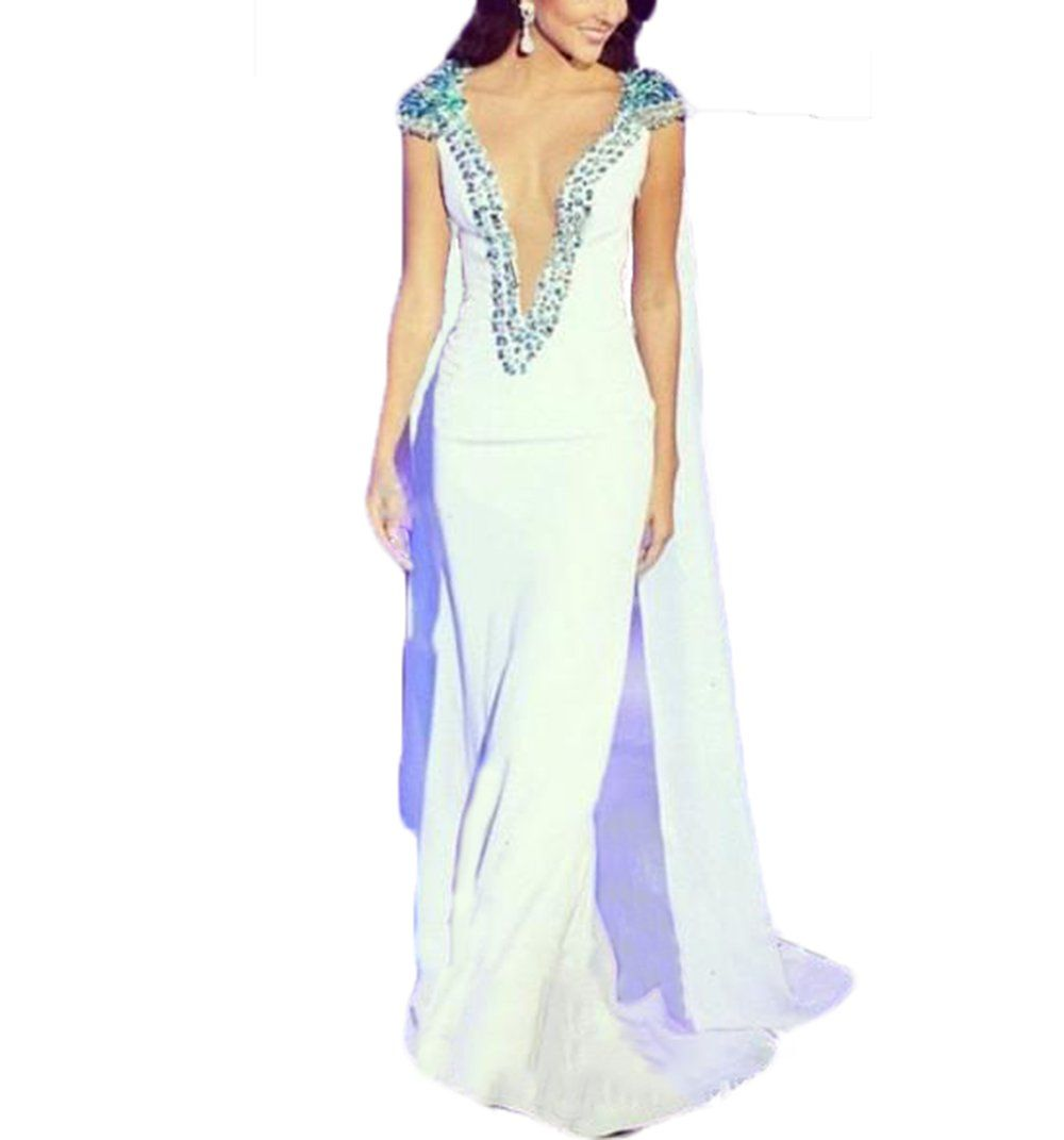 Linsposa plunging neckline white evening gowns with cape formal
