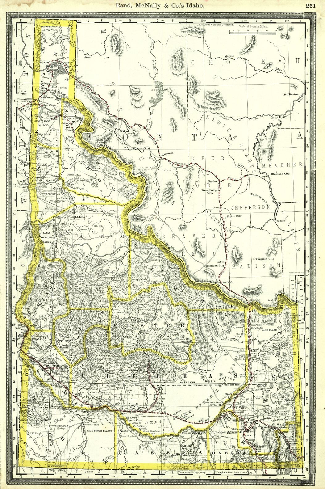 Map Antique Rand McNally And Co s Idaho c1889 Map from the
