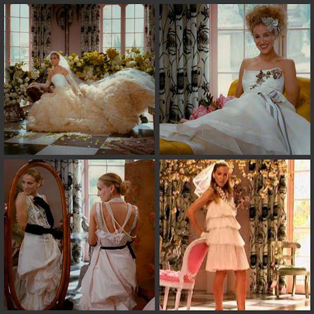 More Of Carrie S Vogue Shoot Vera Wang Carolina Herrera Christian Lacroix Lanvin Carrie Bradshaw Wedding Dress Wedding Dresses Vogue Fashion