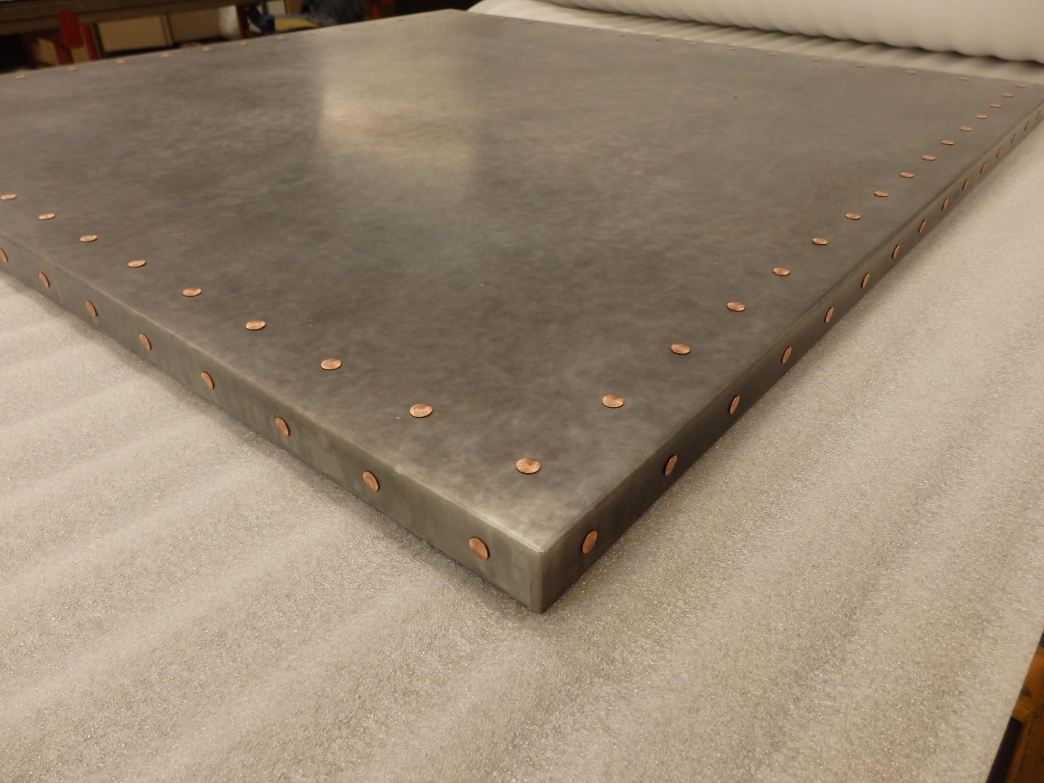 3d54991132893 185 - Light Patina Zinc Table Top with Copper Rivets