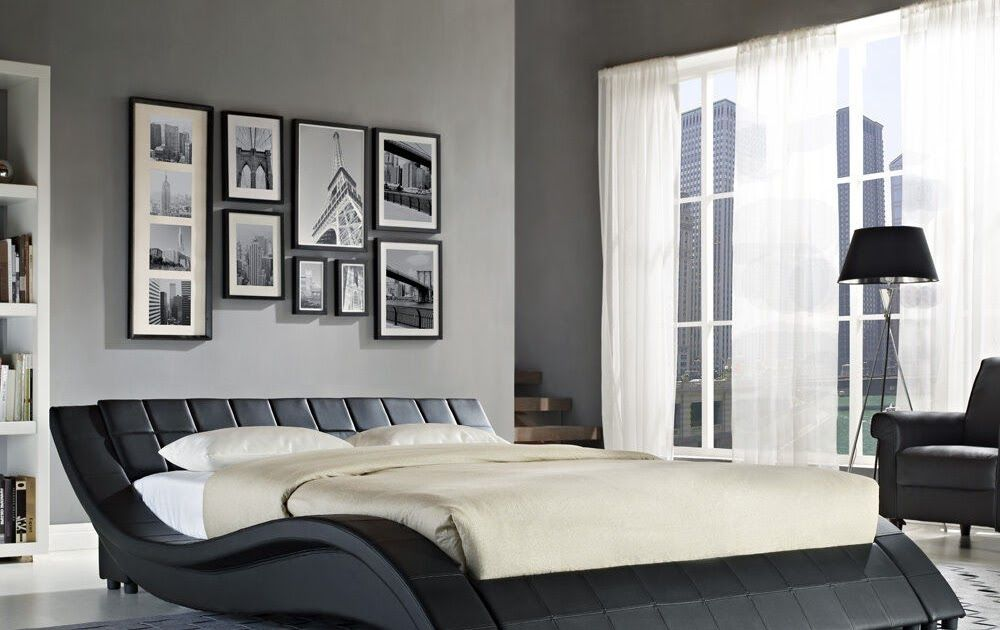 Double King Size Black White Bed Frame And With Memory Foam