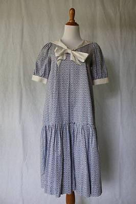 Vintage Laura Ashley Drop Waist Blue Cotton Sailor Dress Gatsby S With Images Laura Ashley Vintage Dress Dresses Fashion