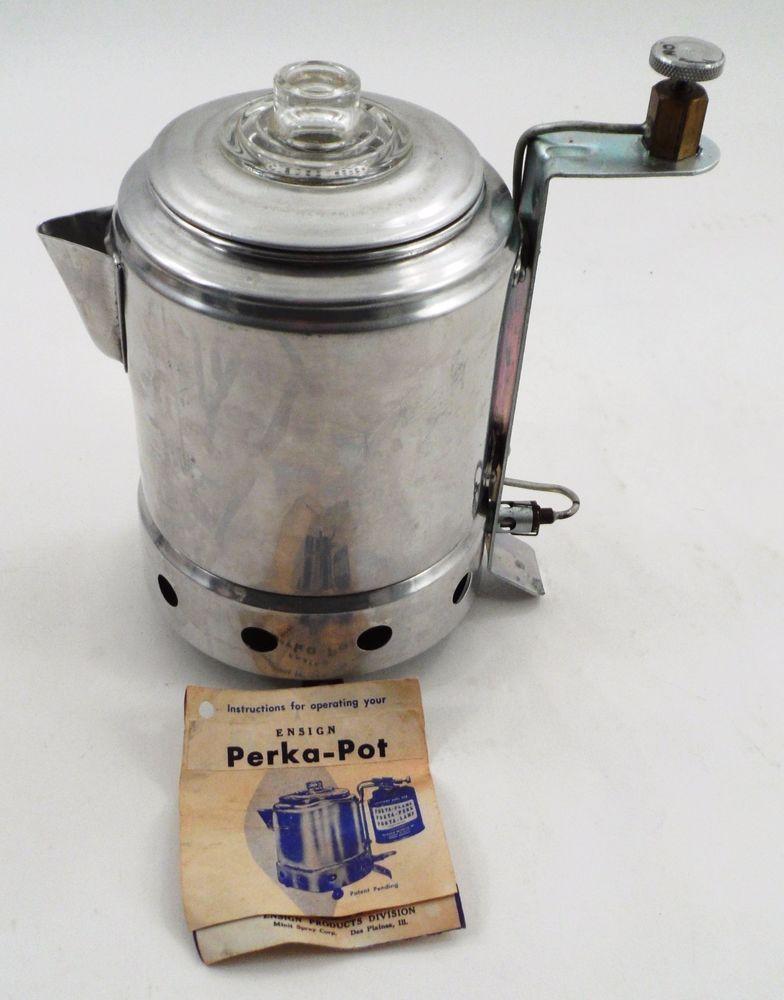 Htf 1950s Perka Pot Porta Perk Propane Camping Coffee Percolator W