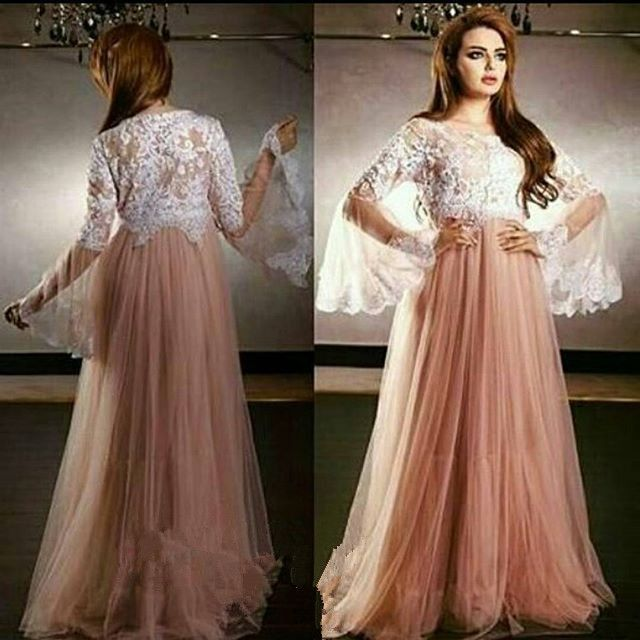 Arabic Butterfly Sleeve Long A-Line Evening Dress with Sheer Lace ...