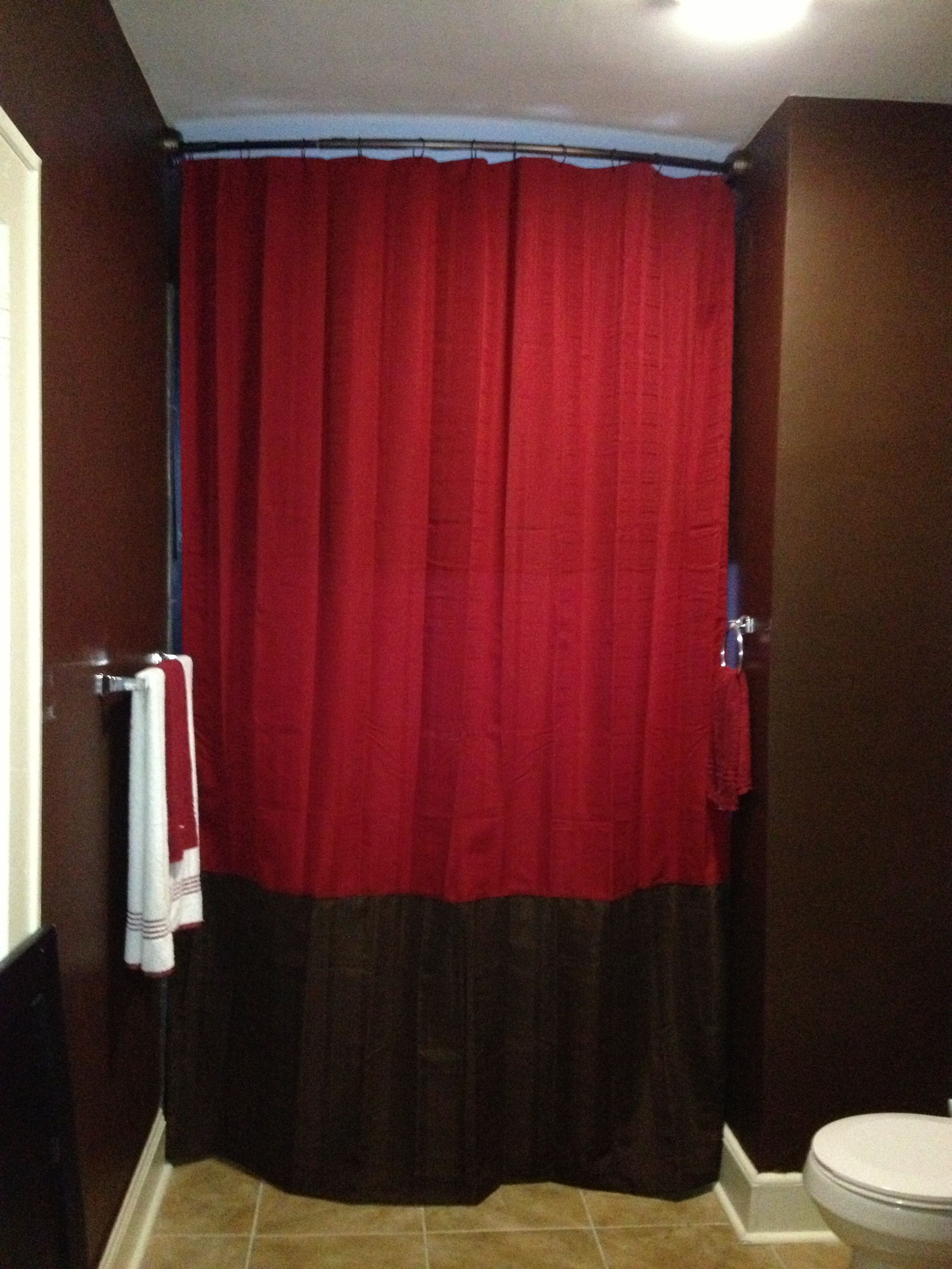 Chocolate brown and red bathroom sewed two shower curtains together