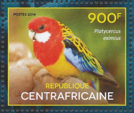República Centro-africana-2014 - El Perico Multicolor o Rosella Común,es  endémico del sureste de Australia, incluida Tasmania. Fue introducido a Nueva Zelanda donde ha establecido poblaciones estables.