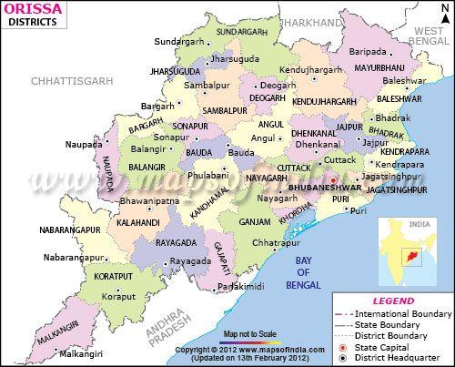 OdishaOrissa District Map  District Maps  Pinterest