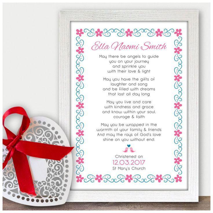 Personalised Christening Poem Gift for Baby Girl Goddaughter Baptism ...