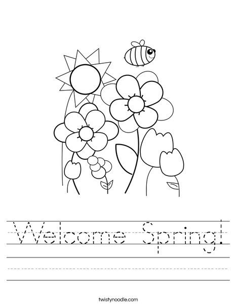 Welcome Spring Worksheet - Twisty Noodle | Pre-K | Seasons ...