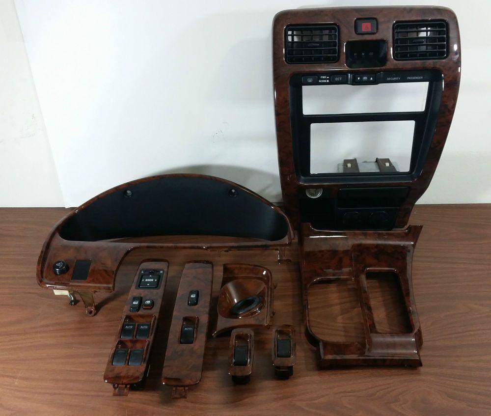 99 02 Toyota 4runner Limited Oem 8 Piece Wood Grain Dash Radio Bezel Fuse Box Trim Set